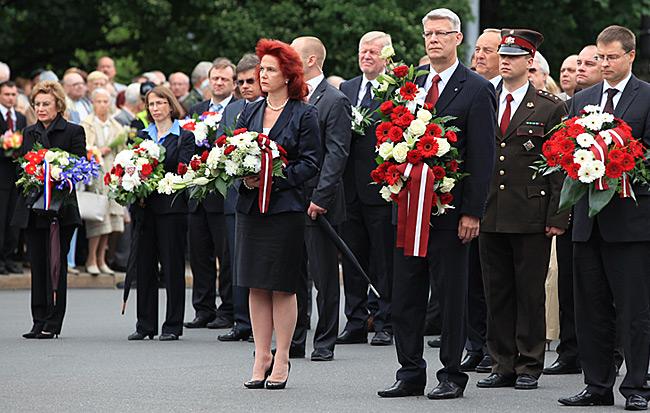 Riga – Gedenktag | Solvita Aboltina, President Valdis Zatlers, Prime Minister Valdis Dombrovskis