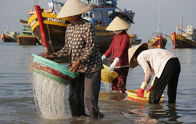 Fischerinnen im Hafen